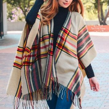 Classic Fall Plaid Poncho - Beige