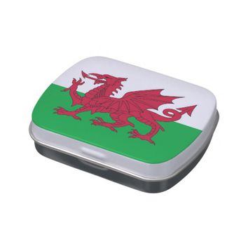 Patriotic candy tins with Flag of Wales
