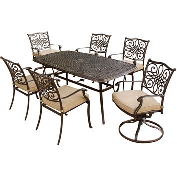 7 Piece Outdoor Metal Patio Furniture Dining Set with Deep Seat Cushions