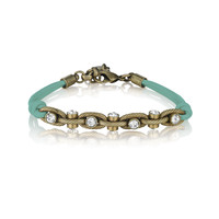 Leather + Crystal Chain Bracelet | cilooks.com