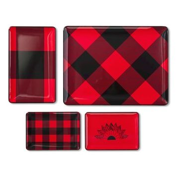 Adam Lippes for Target Melamine Tray Set 4pc - Red Plaid