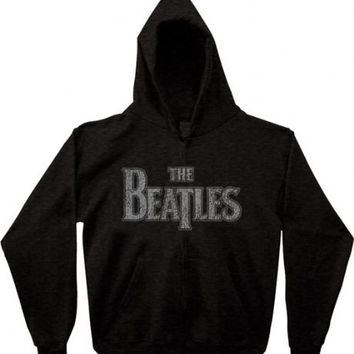 The Beatles Vintage Logo Zip Up Charcoal Adult Sweatshirt Hoodie - The Beatles - | TV Store Online