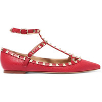 Valentino - Rockstud embellished textured-leather flats