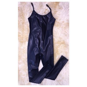 Faux Leather Strappy Jumpsuit