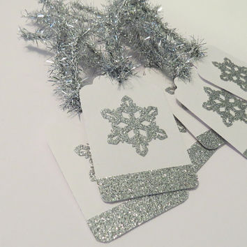 handmade christmas gift tags silver snowflake tags set of 6 - Decorative Christmas Gift Tags