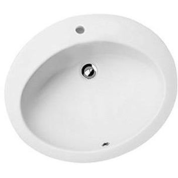 Gio White Oval Recessed Drop-in Ceramic Sink Bowl Sink Lavatory Washbasin