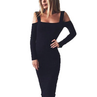 Fashion Women Sexy Club Wear Party Dress Sexy Back Hollow Out Long Sleeve Bodycon Dresses