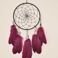 Black and Red  Dreamcatcher, Boho Wall Decor, Girls Bedroom Decor, Black and Red Decor, Modern Dreamcatcher, Gift Idea for Her