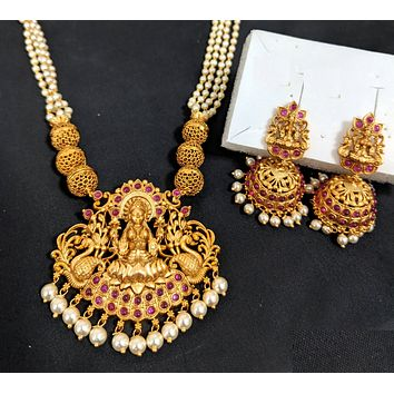 Multi stranded pearl chain with Goddess Lakshmi Pendant Necklace and Jhumka Earring set