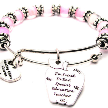 I'm Proud To Be A Special Education Teacher 9mm Glass Beaded Single Bracelet