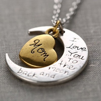 "2015 New Fashion Family ""I LOVE YOU TO THE MOON AND BACK "" Necklace Pendant With Christmas Gift Box"