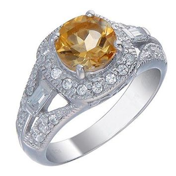 0.95 Carats 7 MM Round 1 CT Citrine Ring .925 Sterling Silver