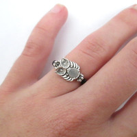 Silver owl ring - black ring jewelry