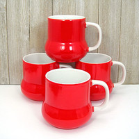 Holt Howard Christmas Red Coffee Mugs - Set of 4 Cups - Bulbous Bottom - Dated 1972 - Made in Japan - Retro Kitchen - Christmas Gift