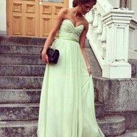 A-line Sweetheart Ruffles Sleeveless Floor-length Chiffon Dress