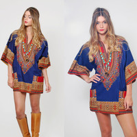 Vintage ETHNIC Dashiki Navy & Red Hippie Tunic Cotton FESTIVAL Top Boho Mini Dress