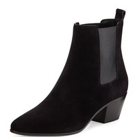 Saint Laurent Wyatt Suede Gored Bootie, Black