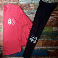 Monogrammed leggings, Personalized, Leggings, Monogrammed, Bridesmaid, Gifts, Cheer, Dance, Workout, Monogram Pants, Girls, Teens, Women