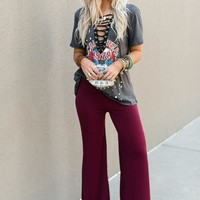 Love Me Wide Leg Pants - Burgundy