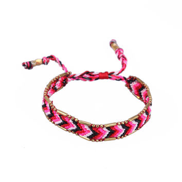 Kelitch Jewelry Adjustable Cotton Woven String Rope Bracelets Handmade Exquisite Wrap Lace-up Red Friendship Bracelet
