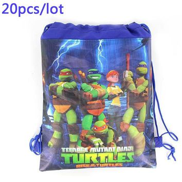 Birthday Party Decoration 20PCS Ninja Turtles Boys Favors Backpack Non-woven Fabric Drawstring Gifts Bags Baby Shower Mochila