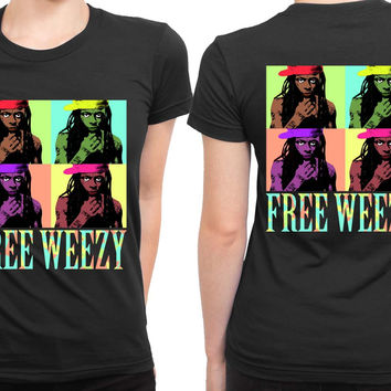 Lil Wayne Pop Art With Title Colorize 2 Sided Womens T Shirt