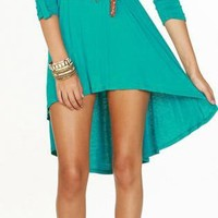 Belted Hi/Lo Turquoise Dress