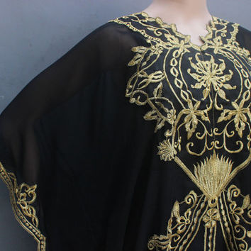 Stunning Black Caftan Dress With Fancy Gold Embroidery Great for Wedding Bridesmaid Party Summer Kaftan Maxi Dress - ONLY 1 Available