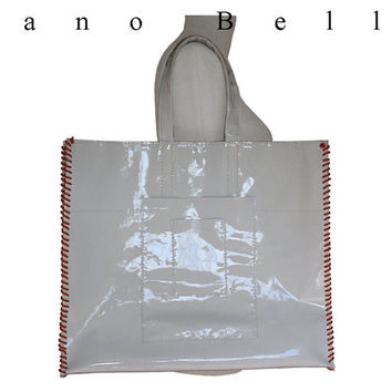 Large Patent Leather Carry All Tote Bag, Hand Stitched White Patent Leather Market Weekender Bag, Orange Leather Whip Lacing 1 in stock
