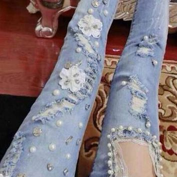 Blue Lace Pearl Cut Out Zipper Ripped Destroyed Long Jeans