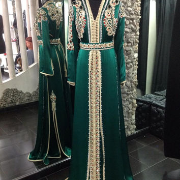 Long Sleeve Beaded Dark Green Moroccan Kaftan Hijab Muslim Evening Dress Arabic Style Formal Gown robe de soiree