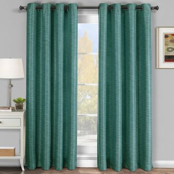 Blue Galleria Blackout Thermal Coating Tonal Stripe Window Grommet Curtain (Single Panel)