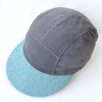 5 Panel Hat * Cycling Cap * Grey/Seafoam