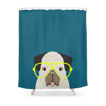 Society6 Emerson - Pug With Neon Hipster Glasses, Cute Retro Dog, Dog, Husky With Glasses, Funny Dog Shower Curtains