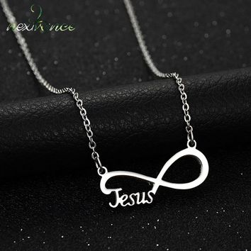 Nextvance Infinity Jesus Pendant Necklace Love Letter Lucky Number Eight Clavicle Necklaces for Women Gift Party Jewelry