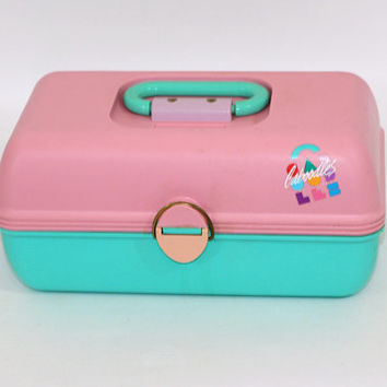 Vintage Caboodles Box Pink and Aqua | Caboodles Storage Box | Makeup Case | Cosmetic Organizer | Earlier Colors | Vintage Makeup Case