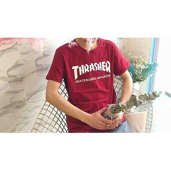 Thrasher Skate Magazine Classic Flame Print Round Collar Couple T-Shirt F-XMCP-YC Wine red