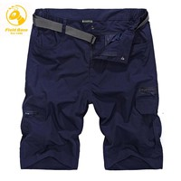 Brand-Clothing CLOTHES Casual Men's Shorts Breathable Cotton Summer Loose Men Short Pantse with Belt Knee Length M-4XL 191