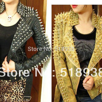 Leather Jacket Snake Print Punk Rivet Studded Coat