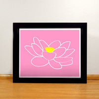Lotus Flower Print - 8x10 Pink and Yellow Digital Print