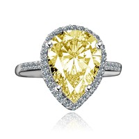 4 ct.Classic pear center w/halo settings canary ring, simulated diamond - diamond veneer set in sterling silver platinum electroplate 635R71421canary