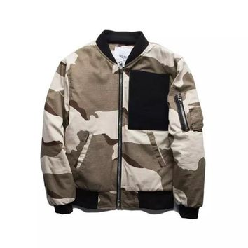 US High Street Fashion Men's Air Force One Bomber Jacket Men Hip Hop Streetwear Casual Sportswear Harajuku Men Jackets Male Coat Camouflage