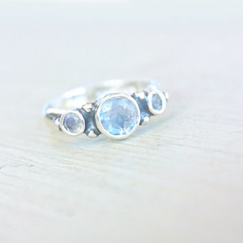 Moonstone Engagement Ring Triple Moonstone Ring Triple Moonstone Ring Sterling Silver Promise Ring June Birthstone Size 5,5