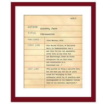 Persuasion by Jane Austen - Library Card Art Print - Book Lovers Poster - Library Poster - Book Gift - Dewey Decimal System