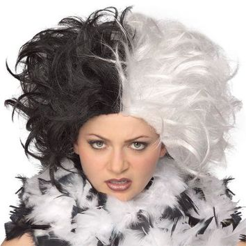 Cruella De Vil Wig Adult Deville Halloween Costume Fancy Dress