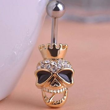 Skull with Rhinestone Belly Button Naval Ring