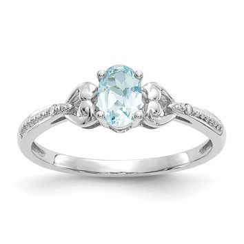 10k White Gold Genuine Oval Aquamarine Diamond Accents Hearts Ring