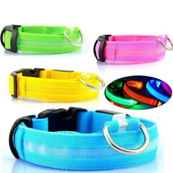 Dogs Luminous Fluorescent Collars Pet Supplies Nylon Receiver Collar Night Safety Brought Glow Dog Harness Cat Collars Glow At Nighttime
