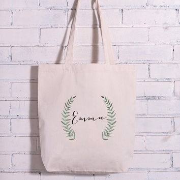 Personalized Leaf Branch Watercolor Calligraphy Name Bag