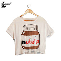 Lei-SAGLY Nutella Print White Crop Summer Short Sleeve T shirts Harajuku Fitness Women Kawaii T-shirt F1003